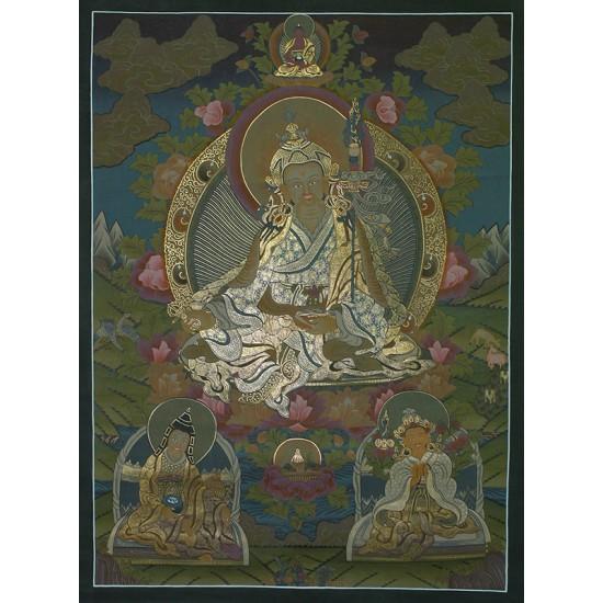 """Guru Padmasambhava Tibetan Thangka Painting 28.5"""" W x 38.5"""" H"""