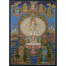 """Lokeshwor Tibetan Thangka Painting 28.5"""" W x 38.5"""" H"""