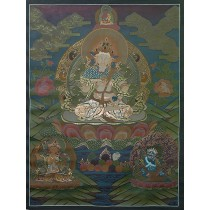 "Vajrasatwa Tibetan Thangka Painting 28.5"" W x 38.5"" H Hand Paint Nepal"