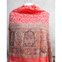 "100% Natural Kashmir Pashmina Border Shawl 28 "" W x 80 "" H"