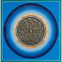 "Mantra Mandala Thangka Painting 21"" W x 21"" H"