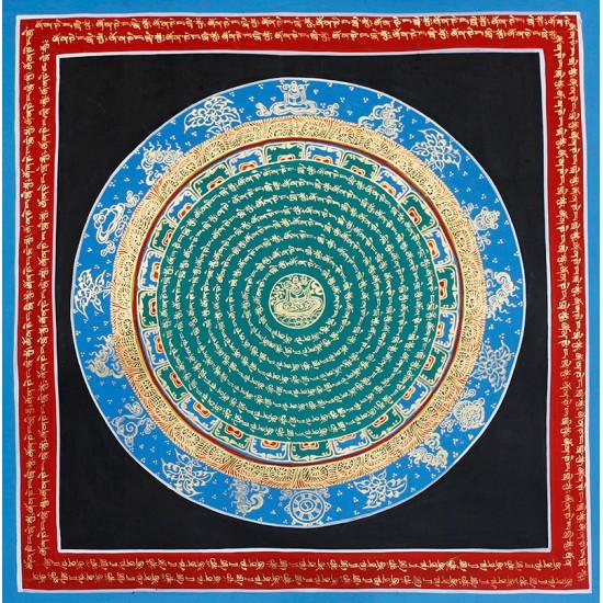 """Mantra Mandala Tibetan Thangka Painting 21"""" W x 21"""" H"""