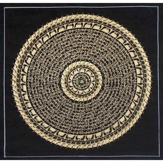 """Mantra Mandala Tibetan Thangka Painting 19.5"""" W x 19.5"""" H"""