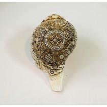"Asthamangala Conch shell Sankha 7"" H x 13"" C Hand Carved Nepal."