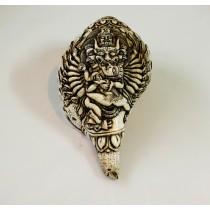 """Yamantaka Conch shell Sankha 7.5"""" H x 13"""" C Handcarved Nepal"""