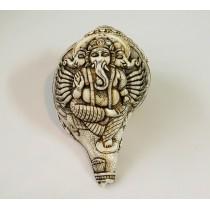 "3 Headed Ganesh Conch Shell Sankha 7"" H x 13"" C Handcarved Nepal"
