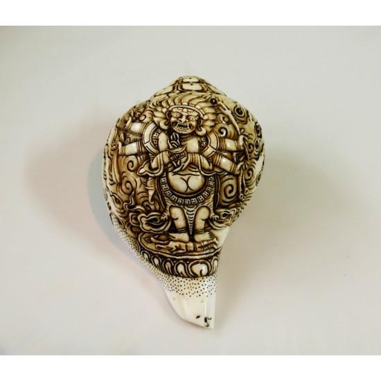 "Black Mahankal Conch Shell Sankha 7"" H x 13"" C Hand Carved Nepal."