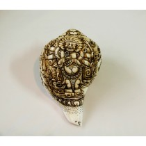 "Black Mahankal Conch Shell Sankha 7"" H x 13"" C Hand Carved Nepal."