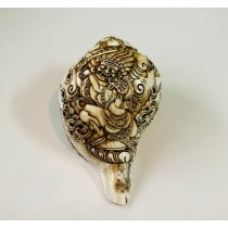 "Mahankal Conch Shell Sankha 7"" H x 12.5"" C Hand Carved Nepal."