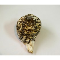 "Safu Mahankal Conch Shell Sankha 6.5"" H x 12"" C Hand Carved Nepal."