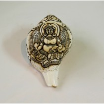 "Kuber Conch Shell Sankha 6"" H x 11.5"" C Hand Carved Nepal."