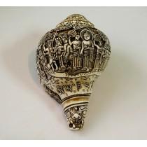 """Lumbini Buddha Yatra Conch Shell Sankha 7.5"""" H x 14"""" C Hand Carved Nepal."""