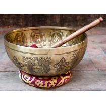 "Hand Hammered Tibetan Singing Bowl 27"" W x 14"" H"