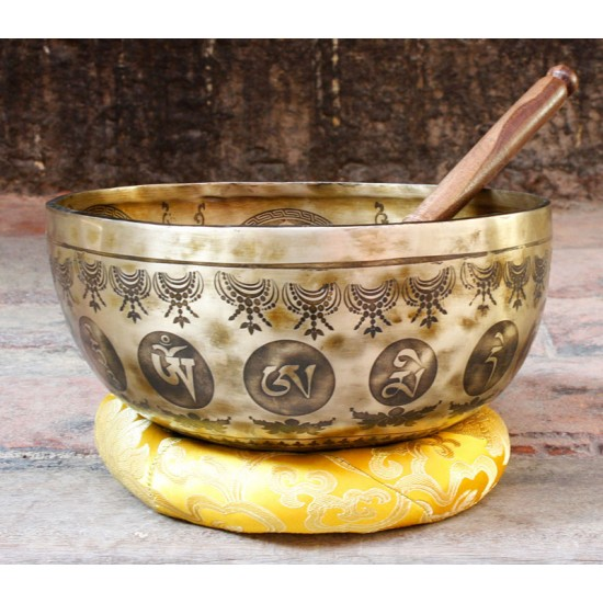 Hand Hammered Tibetan Singing Bowl 24cm W x 12cm H