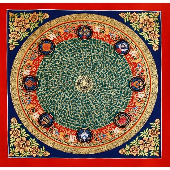 """Mantra Mandala Tibetan Thangka Painting 22"""" W x 22"""" H"""
