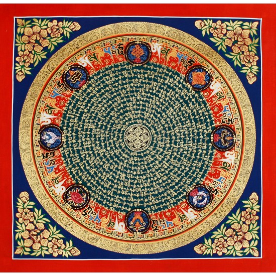 """Mantra Mandala Tibetan Thangka Painting 21.5"""" W x 21.5"""" H"""