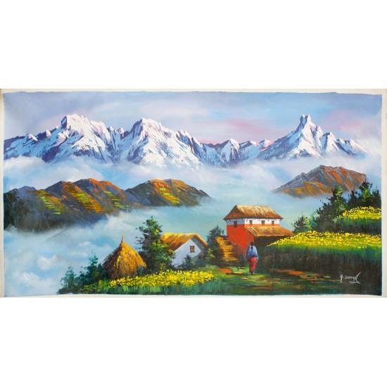 "Mt. Annapurna And Macchapuchre Acrylic Painting 35"" W x 18"" H"