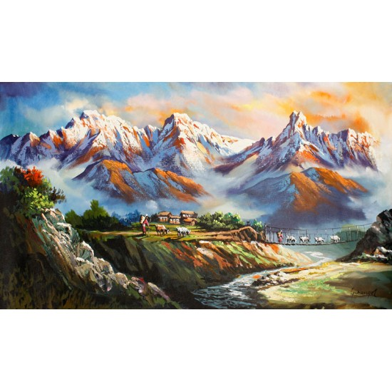 "Mt. Annapurna And Macchapuchre Acrylic Painting 34"" W x 18"" H"