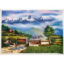 "Mt. Annapurna And Macchapuchre Acrylic Painting 31"" W x 21"" H"