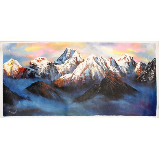 "Mt. Everest Acrylic Painting 37"" W x 21"" H"