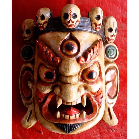 "Wooden Bhairav Mask 9.5"" W x 12"" H"