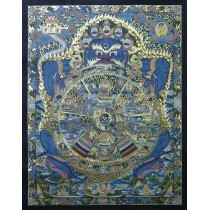 "Wheel of Life Tibetan Thangka Painting 25"" W x 32"" H"