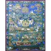 "Life Of Buddha Tibetan Thangka Painting 25"" W x 32.5"" H"