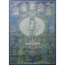 """Lokeshwor Tibetan Thangka Painting 27"""" W x 38"""" H"""