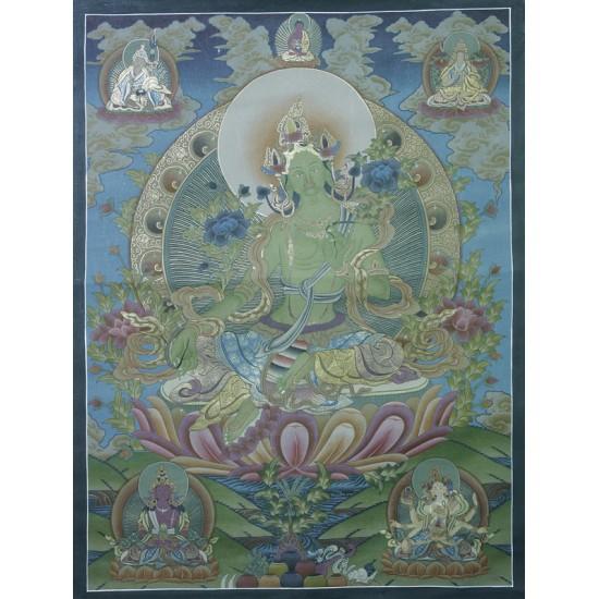 """Green Tara Tibetan Thangka Painting 29"""" W x 39.5"""" H"""