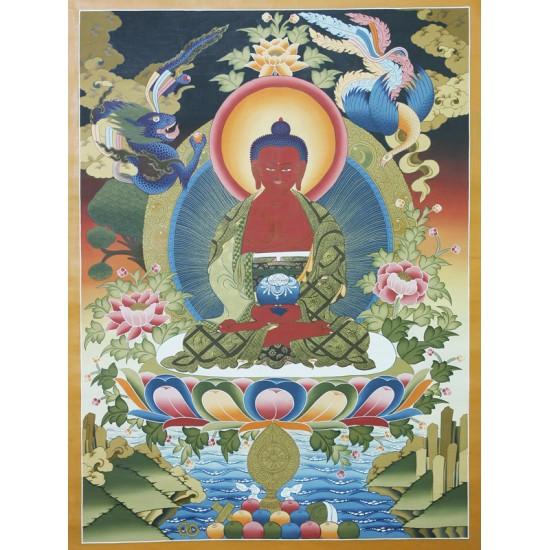 "Amitabha Buddha Tibetan Thangka Painting 30"" W x 40"" H"