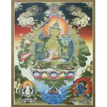 """Manjushree Tibetan Thangka Painting 30"""" W x 39"""" H"""