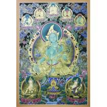 """Green Tara Tibetan Thangka Painting 28.5"""" W x 39"""" H"""