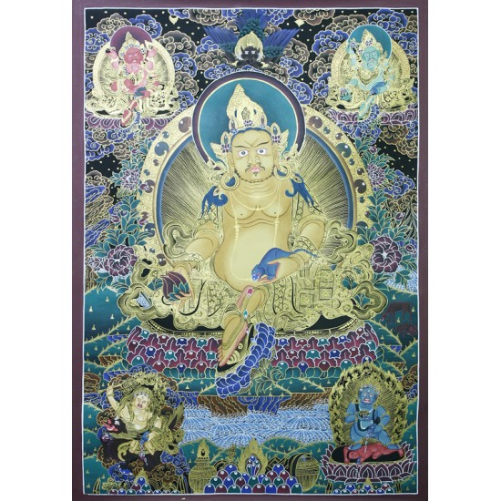 """Kuber Tibetan Thangka Painting 29.5"""" W x 40.5"""" H Hand Paint Nepal"""