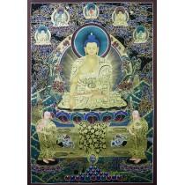 "Shakyamuni Buddha Tibetan Thangka Painting 29.5"" W x 40.5"" H"