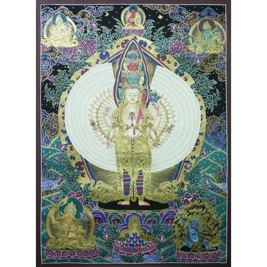 """Lokeshwor Tibetan Thangka Painting 30"""" W x 40"""" H"""