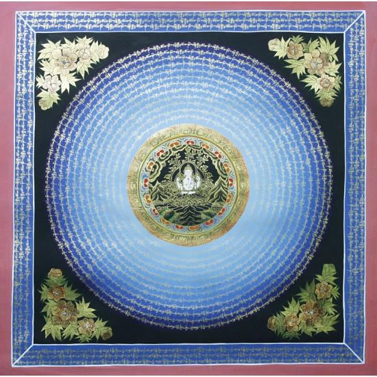 """Vajrasatwa Mantra Mandala Tibetan Thangka Painting  32"""" W x 32"""" H"""