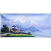 "Annapurna Acrylic Painting 47"" W x 24"" H"