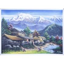 "Gurung Village Acrylic Painting 32"" W x 24"" H"