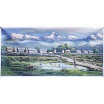 "Macchapuchhre Acrylic Painting 50"" W  x 26"" H"