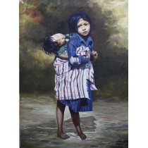 "Girls carrying little child Acrylic Painting 22"" W x 32"" H"