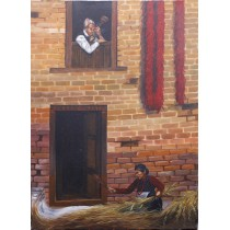 """Traditional Newari work and home Acrylic Painting 22"""" W x 32"""" H"""