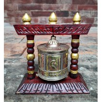 "Wooden Prayer Wheel 5"" W x 5"" H"
