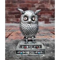 "Owl Cigarette and match box 3.5"" W x 6"" H"