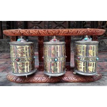 "Wooden Prayer Wheel 17.5"" W x 8"" H"