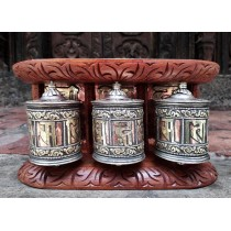 "Wooden Prayer Wheel 9.5"" W x 5"" H"