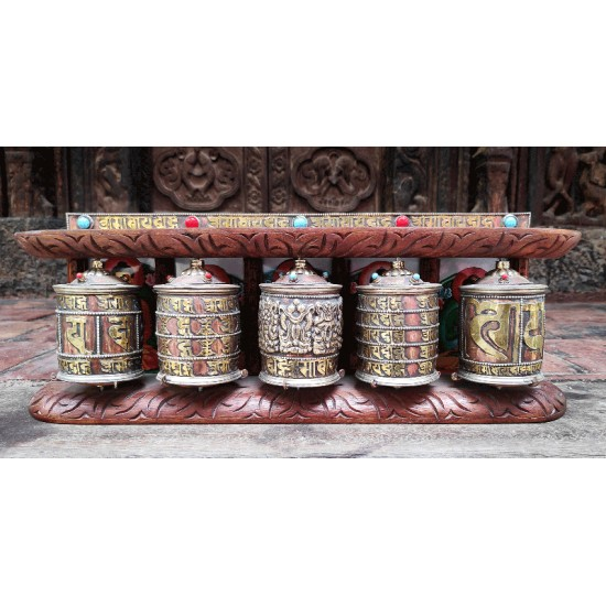 "5 piece wooden prayer wheel 16"" W x 6"" H"
