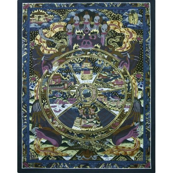 """Wheel of Life Tibetan Thangka Painting 22""""H x 17""""W"""