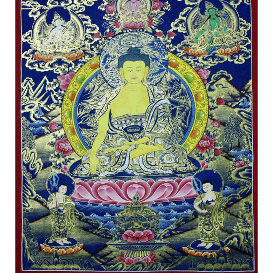"Shakyamuni Buddha Tibetan Thangka Painting 19.5"" W x 26"" H"