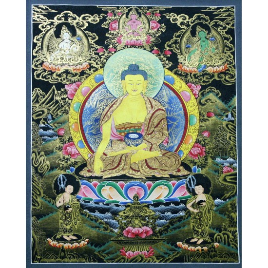 "Shakyamuni Buddha Tibetan Thangka Painting 20"" W x 26.5"" H"