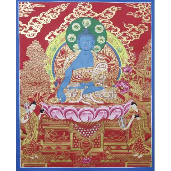 "Medicine Buddha Tibetan Thangka Painting 20.5"" W x 27"" H"